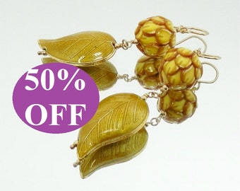 NOW 50% OFF - Golden Yellow Polymer and Enamel Leaf Earrings featuring Beads by elenadesignbead