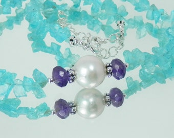 Neon Apatite and White Edison Pearl Necklace