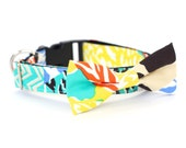 New Color! Colorful Patchwork, Designer dog collars, Bow Tie, Dog and Cat Collar, Bow Tie Dog Summer- Dog Collar