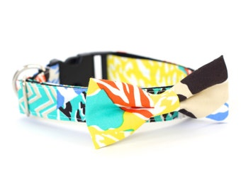New Color! 2 colors to choose from, Colorful Patchwork, Designer dog collars, Bow Tie, Dog and Cat Collar, Bow Tie Dog Summer- Dog Collar