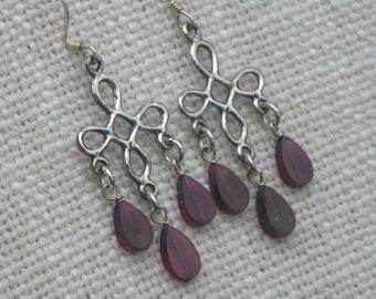 Sterling Silver and Garnet Teardrop Chandelier Earrings