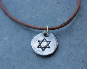 Ancient Star of David Necklace - antiqued handmade fine silver charm on leather cord -  Jewish symbol, Judaism -free shipping USA