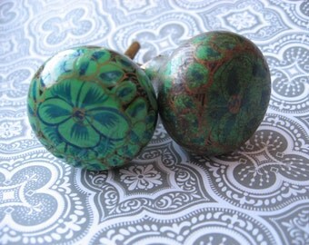 2 Hand Painted Floral Wood Knobs Antiqued Green Blue Gold Oriental Flower Style Painted B-4