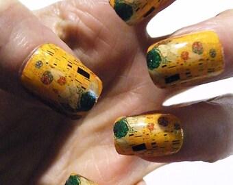 Mani Pedi Klimt The Kiss Nail Polish Art Nails Art History Painting Manicure Pedicure Nails Accessories