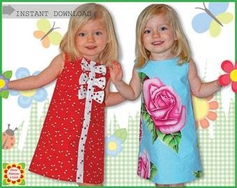 Adele GIRLS DRESS PATTERN + Free Mother-Daughter Apron Pattern, Sewing Patterns for Children, Kids, Toddler, Supplies, handmade
