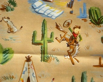 SALE : Alexander Henry 'cowboys and indians' fabric 2002 FQ or more