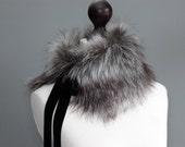 Faux fur collar in grey. Fur neck warmer. Womens fur collar. Fur scarf. Christmas gift