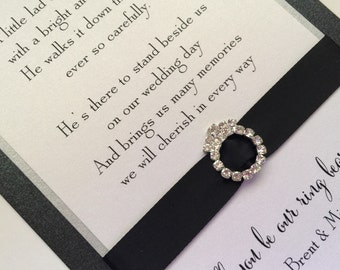 Will You Be Our Ring Bearer, invitation, card, wedding, bling, page boy, black, white, silver