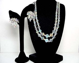 Laguna Earrings & Necklace Set - Crystal Beads - Aurora Borealis - Desiger Signed