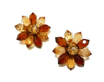 Western Germany Flower Earrings - Brown Star Flowers - Clip on European Earrings