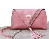 Salmon Pink Leather Clutch. Cross Body Purse. Woman Handbag. Chic Purse w/ Adjustable Strap. MINI Cinderella Clutch. FREE SHIPPING