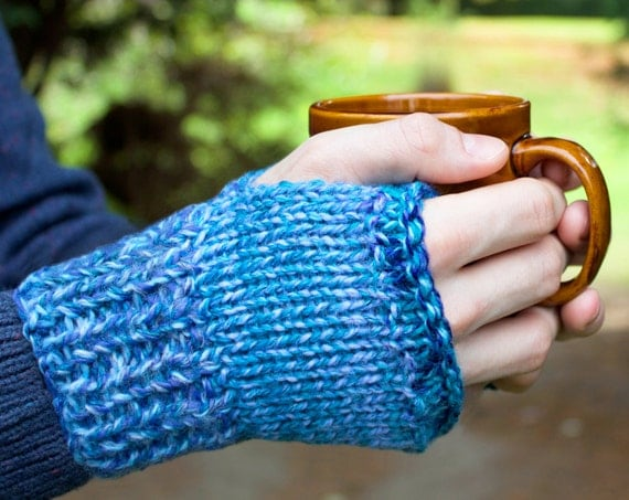 Ocean Waves Buskers' Mittens - Unisex Fingerless Gloves For Winter - Blue Men's Mittens, Sky Blue Fingerless Mittens for Men, Ladies, Unisex