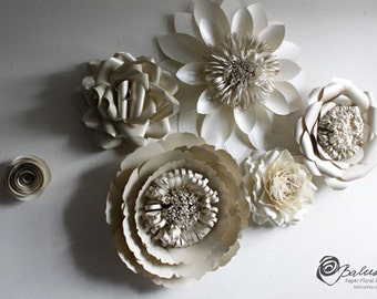 Paper Flower Group #2 Wedding or Home Decor Paper Art 6 Flowers Custom Made Handmade 1 Large 2 Medium 2 Small 1 Rose Custom Color Included