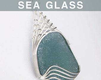 Huge Grey Sea Glass Pendant
