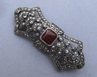 Antique Sterling Marcasite Carnelian Brooch Art Deco Pin Jewelry