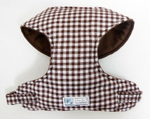 Brown Gingham Comfort Soft Dog Harness - Made to Order -