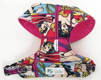 Comic Wonder Woman Comfort Soft Dog Harness - Made to Order -
