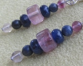Stress Relief, Violet Fluorite Sodalite and Clear Fluorite Sterling Silver Earrings, Natural Gemstone Synergy, ,Healing Stones,