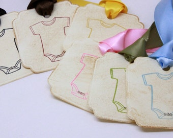 Onsie Gift Tags (Double Layered) - Baby Shower Wish Tags - Baby Shower Favor Tags - Vintage Inspired Handmade Gift Tags - Set of 8