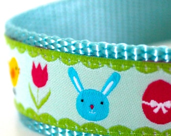 Blue Bunny Dog Collar, 1 inch width, Easter Themed Pet Collar, Spring Dog Collar, Big Dog Collar