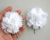 White Flower hair Clips For Wedding, Bridal Hair Accessories, White Bridal Hair Pieces, Flower Hair Pins, White Flower Headpiece, Hair Clips