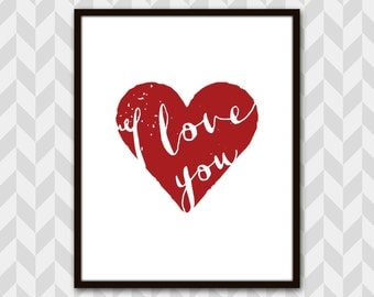 I Love You Art Print, Heart, typographic calligraphy, Valentines Day gift