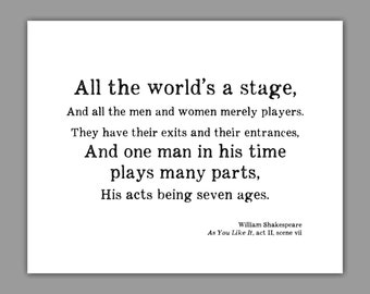 Shakespeare Art Print, Typography, All the World's a Stage, Literature