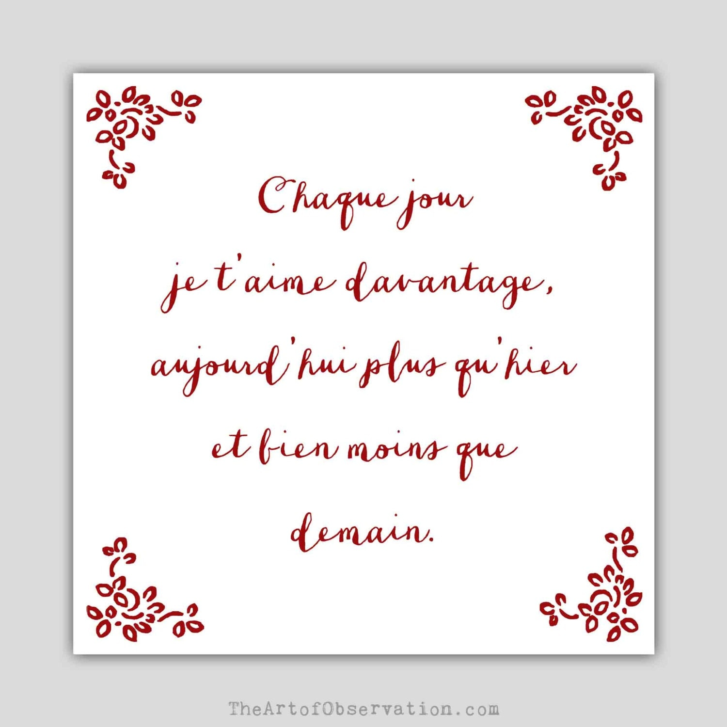 Fran ais art print citation d 39 amour po me par for Jardinier traduction anglais