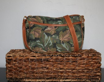 Vintage Crossbody Bag • LL Bean CrossBody Purse • 1990s Fabric and Leather Purse