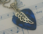 Guitar Pick Necklace - Angel Wing - Blue Guitar Pick - Guitar Pick Jewelry  -  24 inch - Ball Chain - Christian Necklace - Christian Jewelry