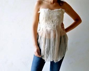 Wedding corset, wedding separates, boho top, silk top, fairy top, hippie top, festival top, wedding lingerie, wedding top, bridal corset