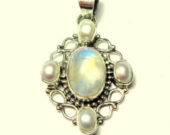 SALE, Rainbow Moonstone and Pearl Pendent, Natural Gemstone, Blue Flash Stone, Vintage Treasure