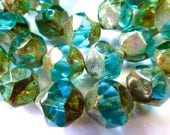15 Czech Glass Fire Polish Translucent Aqua/Teal Center Cut with Picasso Finish 11x10mm size