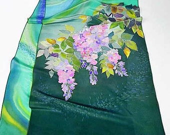 Green Pink Silk Scarf Hand Painted, Batik, Spring Floral Wisteria Scarf, Gift Wife Mom, Light Scarf, Holiday Gift, Women Fashion Scarf