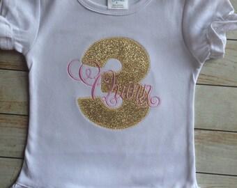 Gold Glitter Birthday or Initial Shirt