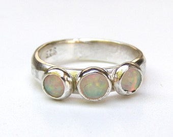 White opal ring, Engagement Ring -Gemstone White opal  Mineral ring Birthstone  - Christmes silver sterling ring -Made to order