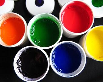 Marbling Paint - Hand-mixed AcrylicPaint Set of 6 - Basic Set Marbleizing Paper Supplies Ebru Paint