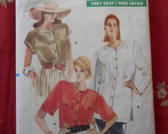vintage Vogue sewing Pattern Very Easy Vogue pattern c1990s shirts size 8-10-12