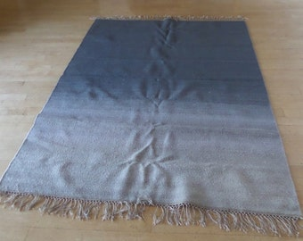 Wool Area Rug Gray Ombre 5' X 7' Flat Weave Rug Kilim Gently Used