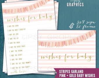 Pink & Gold Stripes Garland Baby Wishes by Tipsy Graphics. Madlib. AdLib. Baby Wishes. Baby Statistics. Printable Cards, any Colors.