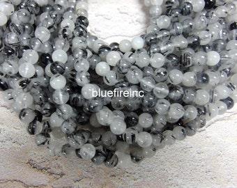 8mm Clear White Color Black Tourmalian Quartz in Full strand