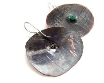 Copper earrings, chrysoprase stone