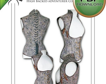 "Corset Sewing Pattern High Full  Back PDF Digital Download - size Extra Large 38"" -40"" 42"""
