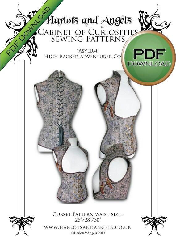 "Steampunk ""Asylum"" Corset Sewing Sewing Pattern High Back Medium 26 28 30"" waists"