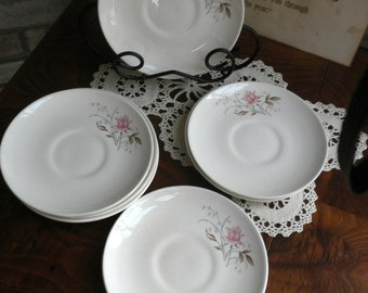 Saucers Steubenville Pottery Pink Rose Pattern Set of Eight