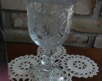 Vintage Fostoria Candle Holder Goblet Heart and Diamond Loving