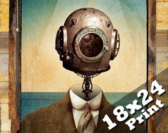 Scuba diving Deep sea diver | Antique industrial nautical decor steam punk art  |  20,000 leagues jules verne oddities steampunk 18x24 print