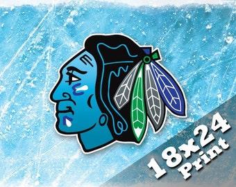 Chicago Blackhawks Kids Ice Hockey Decor Sports Art Print Hawks Kids Chicago Poster Nhl Hockey