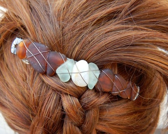 Wire Wrapped Sea Glass and Natural Agate Barrette