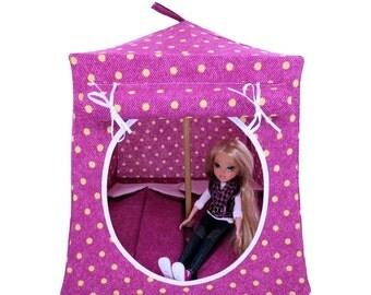 Toy Pop Up Tent, Sleeping Bags, maroon, polka dot print fabric